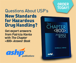 Questions About USP's New Standards for Hazardous Drug Handling? Get expert answers from Patricia Kienle with The Chapter <800> Answer Book. ORDER TODAY! ASHP Publication. http://bit.ly/2ohZNd4